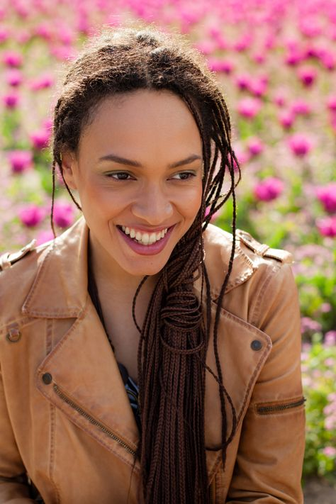 Beautiful Lesbian African American Woman With Braids In A Field Of
