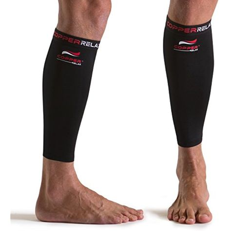 439f65361d80a1 Copper Relax Calf Compression Sleeve - Best Original Non Slip Shin Splint  Recovery Brace - Support Socks for Sore Muscles and Joints - Use Anywhere  Anytime ...