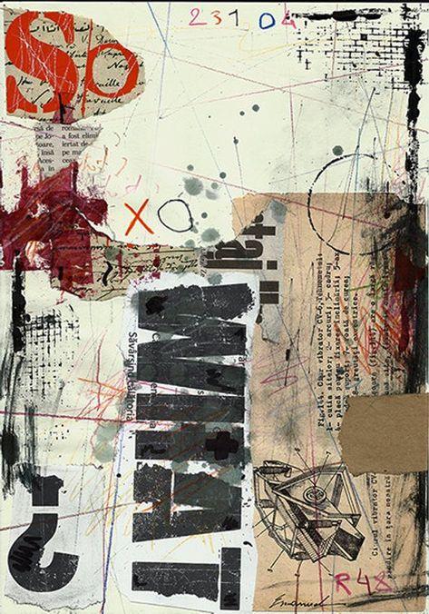 Imprimer Art toile cadeau de Noel Abstract Drawing Collage Mixed Media Painting Illustration Autographée signée Emanuel Ologeanu décoration à la maison