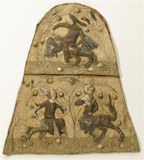 "A 14th century embroidered Aumônière pouch with grotesques. Belonging to ""de la comtesse de Bar,"" from the Benedictine Abbey of Saint-Mihiel. (C) RMN-Grand Palais (musée de Cluny - musée national du Moyen-Âge) / Jean-Gilles Berizzi."