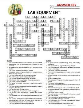 Lab Equipment Crossword Editable Lab Equipment Answer Keys Persuasive Writing Prompts