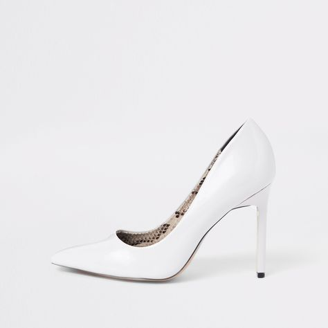 White wide fit patent court shoes in