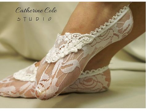 Lace socks for heels white  lace great for bridal wedding shoes lace slippers footlets lace peep socks bridesmaids flats Catherine Cole. $10.90, via Etsy.