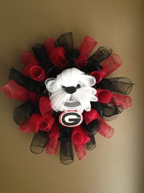 Someone crafty make this for me!!! Georgia Bulldog Mesh Wreath by JustAdoorItWreaths on Etsy, $50.00