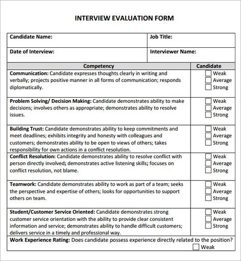 Best Interview Evaluations Images On   Interview