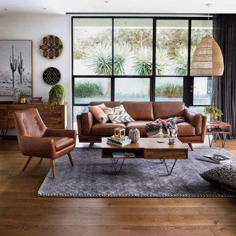 Dahlia 3 Seat Leather Sofa In Oxford Tan Freedom Tan Sofa Living Room Leather Sofa Living Room Freedom Furniture