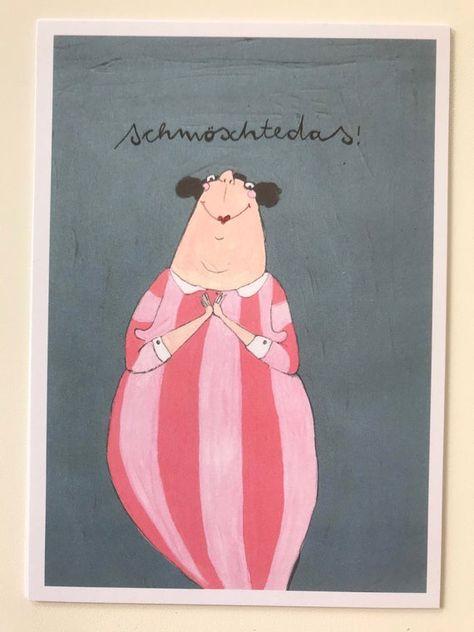 "Postcards, A6, print on recycled cardboard, three times ""schmöschtedas!"""