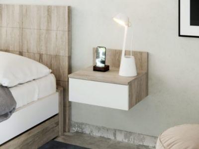 Chevet Suspendu Coloris Blanc Et Chêne Onda Déco Table De