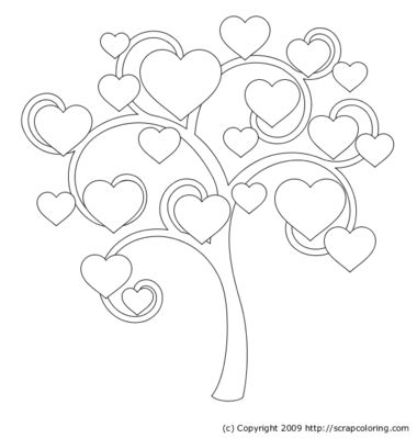 Hearts And Roses Coloring Pages Frosty Leaves Red Rose With - Family tree coloring page