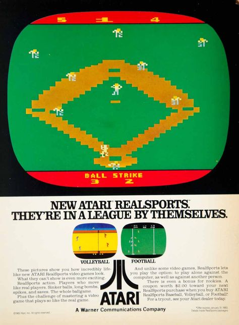 1982 Ad #Atari RealSports Volleyball Football Baseball Video Games Electronics #oldschool