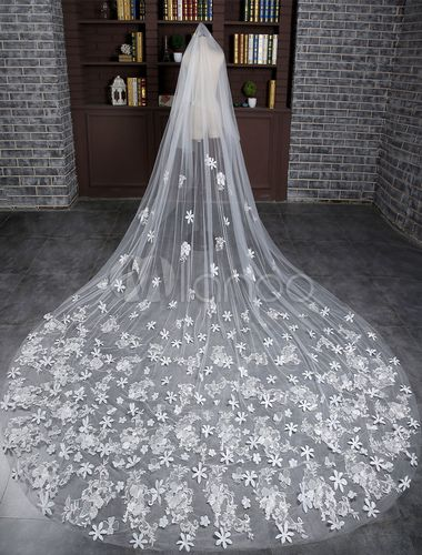 White Cathedral Bridal Veil with 3D Flowers Ivory Chapel Veil Long Floral Veil with comb Floral Wedding Veil 300 cms In White or Ivory