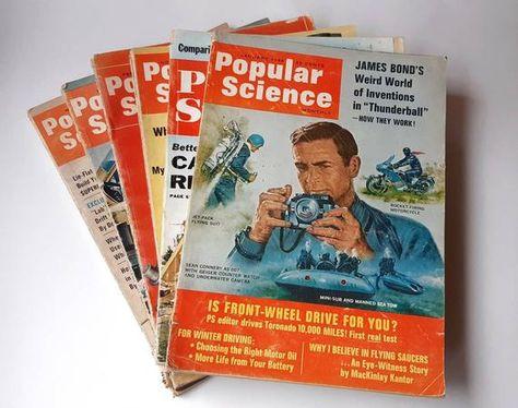 Lot of 6 1960s Vintage POPULAR SCIENCE Magazines- Collectible Paper Ephemera Technology Mechanics Av