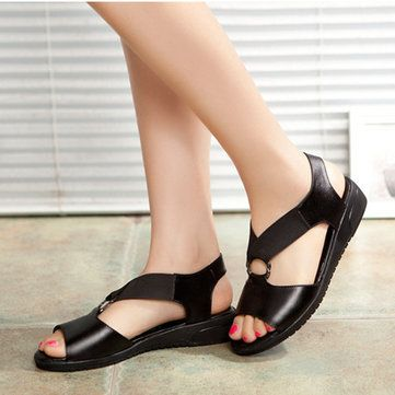 Leather Elastic Band Comfortable Soft Sole Flat Casual