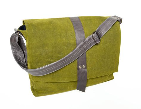 334e9f58fa Waxed Canvas Messenger Bag Green Mens Laptop Satchel Crossbody Over ...