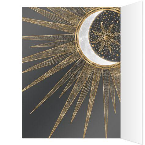 Elegant Gold Doodles Sun Moon Mandala Design Card