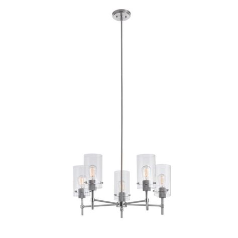 5 Light Brushed Nickel Chandelier with Globe Clear Glass Shades