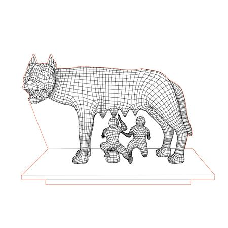 Capitoline Wolf 3d Illusion Lamp Plan Vector File For Laser And Cnc 3bee Studio 3d Illusions 3d Illusion Lamp 3d Illusion Art