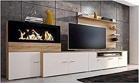 Meuble Tv Comfort Home Innovation Meuble De Salon Avec Cheminee Au Bioethanol Finition Blanc Mat Et Chene Clair Outdoor Dining Set Furniture Outdoor Dining