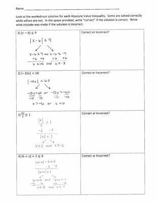 Absolute Value Inequalities Error Analysis Printable Simplifying Radicals Absolute Value Inequalities Error Analysis Absolute Value