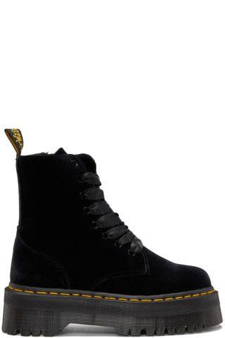 Black Velvet Jadon Platform Boots