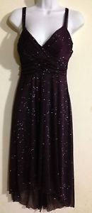 Speechless Purple Shimmer Asymetrical Empire Waist Dress Size Large Sz L