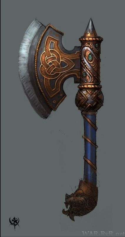 warhammer, I like the Scottish knots that are on the decal, reminds me of dwarven weapon a