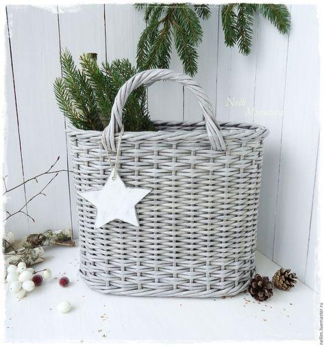 """Купить Корзина плетеная """"Зимний вечер"""" - серый, Плетеная корзинка, овальная корзинка"""