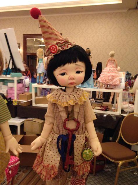 Nikki Britt Studio's MSD BJD  Phoebe as a clown  at BJDC 2014 Austin, TX.  Clown outfits by Sweet Creations, aged by Nikki/