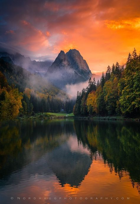 Evening light, Riessersee, Zugspitze, minutes after sunset. Bavaria, Germany - by Dag Ole Nordhaug Mountain Photography, Amazing Photography, Landscape Photography, Nature Photography, Germany Photography, Aerial Photography, Sunrise Photography, Photography Photos, Wedding Photography