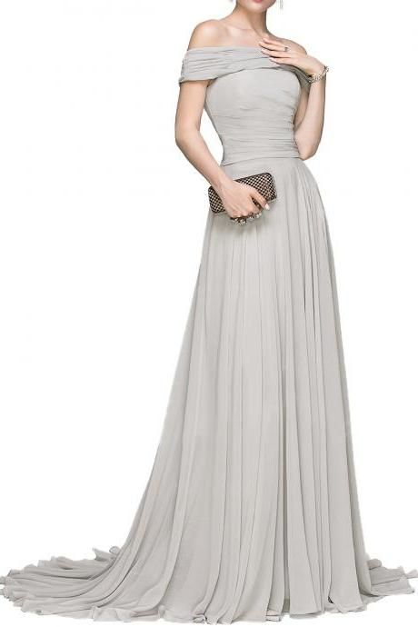 6e0cef830d5ef Off the Shoulder A Line Long Chiffon Grey Evening Dress Simple Prom ...