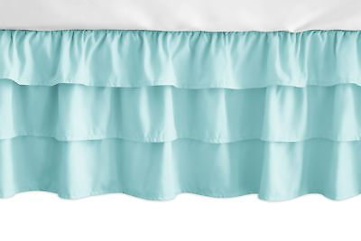 Details About Solid Turquoise Ruffled Tiered Baby Girl Crib Bed