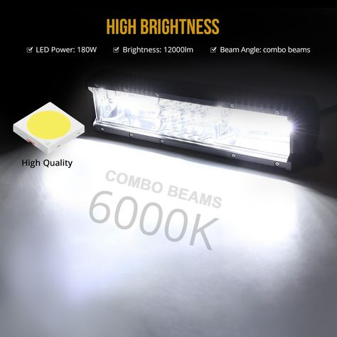 180w Off Road Led Light Bars For Trucks 18000 Lumen Daylight White 6000 6500k Waterproof Ip67 Rating 12 Inch Led Light Bar Bar Lighting Off Road Led Lights Led Light Bars