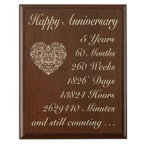 5th Wedding Anniversary Wall Plaque Gifts For Couple 5 Year