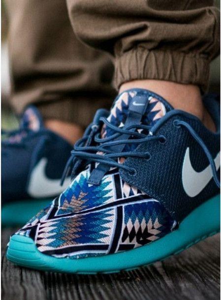 shoes nike nike free run blue patterns aztec run sneakers