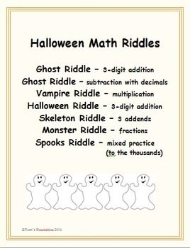 Halloween Math Riddles , work out math problems and solve