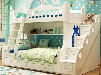 Louis Fashion Double Solid Wood Bunk Bed For Children Mediterranean Wind Bed Design Bunk Bed Designs Wood Bunk Beds