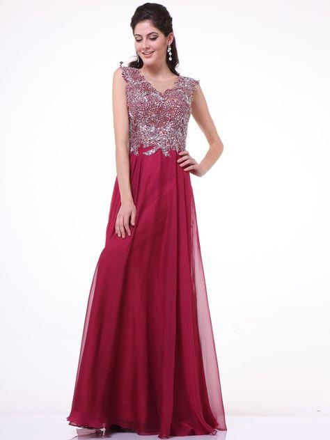 3e4e07c6745b72 Embellished Illusion Evening Dress by Cinderella Divine CJ1022 ...