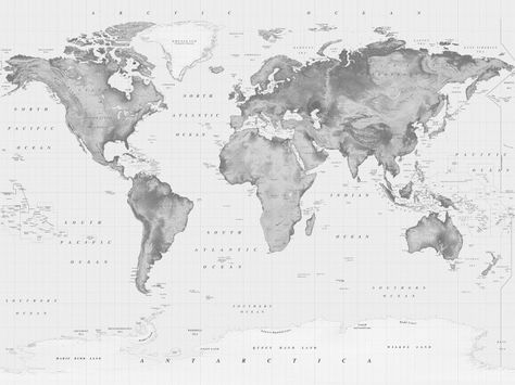 Black & White Relief World Map with Antarctica