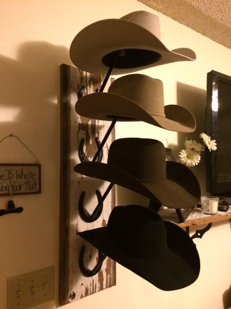 Horseshoe and Barn Wood Cowboy Hat Rack by LuckyArts on Etsy