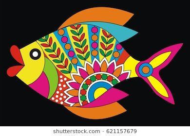 Indian Folk Painting- Madhubani Painting of a fish | Folk