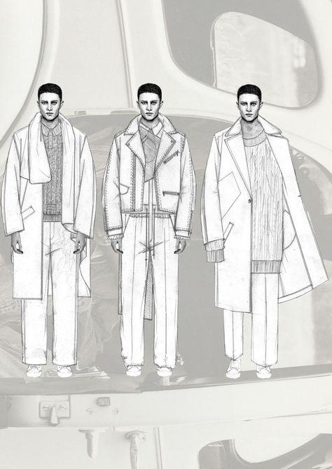 Fashion Sketchbook - fashion illustrations; menswear lineup; fashion portfolio // Niall Cottrell #MensFashionIllustration