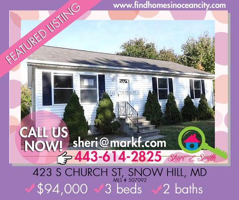 Featured Listing: 423 S CHURCH ST, SNOW HILL, MD 21863
