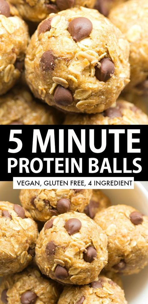 5 Minute No Bake Protein Energy Balls made with just 4 ingredients! One bowl, easy ingredient substitutions and the perfect high protein snack between meals! High Protein Snacks, Healthy High Protein Meals, High Protein Breakfast, High Protein Low Carb, High Protein Recipes, Protein Foods, Low Carb Recipes, Protein Energy, Healthy Protein Balls