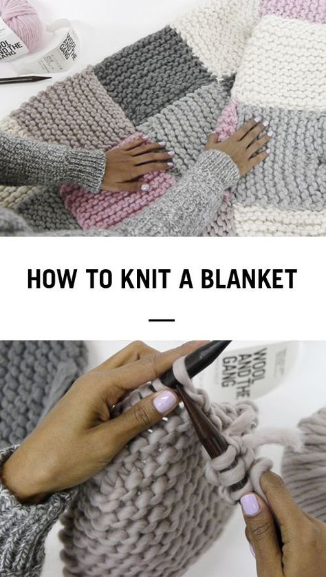 How To Knit A Blanket By Wool And The Gang * wie man eine decke aus wolle und der bande strickt * comment tricoter une couverture avec de la laine et le gang Arm Knitting, Knitting Stitches, Knitting Needles, Knitting Wool, Knitting Basics, Giant Knitting, Finger Knitting, Yarn Projects, Crochet Projects