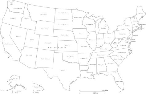 United States Black & White Map with States and State Names | travel ...