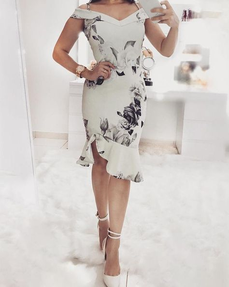 00e4102666b51 Shop Floral Print Cold Shoulder Ruffles Bodycon Dress right now, get great  deals at Voguelily.