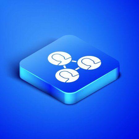 Isometric Project Team Base Icon Isolated On Blue Background Business Analysis Affiliate Base I Isometric Social Media Design Graphics Blue Backgrounds