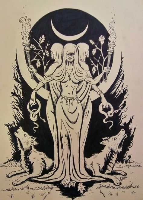 I love Hecate and all of the spooky associations she has. Hecate is Goddess of crossroads, the night, magic, . Greek Goddess Tattoo, Hecate Goddess, Moon Goddess, Greek Goddess Art, Greek Mythology Gods, Greek Mythology Tattoos, Greek Gods And Goddesses, Heidnisches Tattoo, Body Art Tattoos