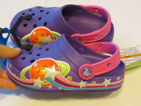 45bcd8a47af3f crocs Girls Galactic Light up Clog toddler little kid C10 children Neon  purple…