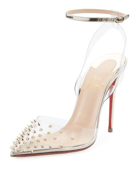 innovative design 7bdb5 d3323 Christian Louboutin Spikoo Spiked Ankle-Wrap Red Sole Pumps ...